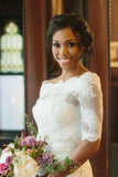 Vintage Half Sleeve Off-The-Shoulder Lace Wedding Jacket JK001