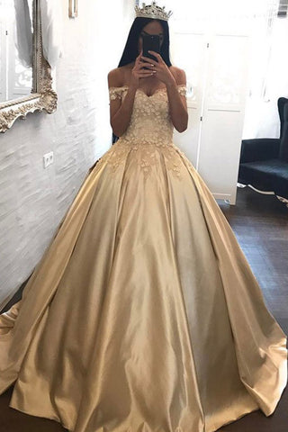 228f4ce698 Ball Gown Off Shoulder Prom Dress with Appliques