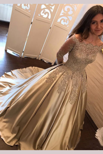 Chic Gold Off Shoulder Long Sleeve Ball Gown Appliques Satin Prom Dress, N1329
