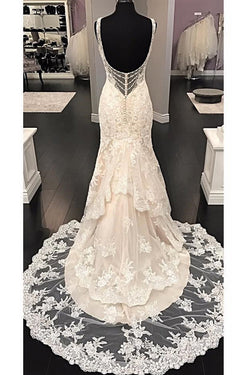 Luxurious V Neck Sleeveless Mermaid Long Lace Wedding Dress, Sweep Train Bridal Dress