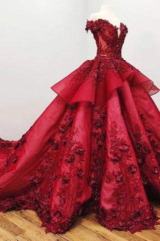 Gorgeous Ball Gown Prom Dress with Beading, Long Quinceanera Dress with Flowers