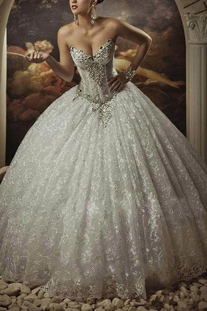 Gothic Style Corset Ball Gown Lace Wedding Dresses Sweetheart