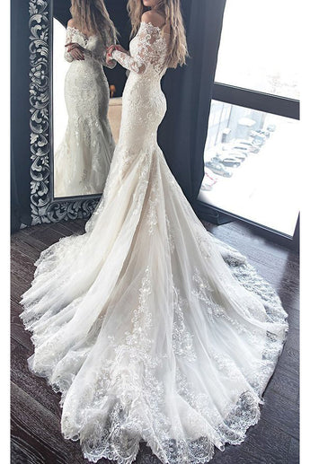 Gorgeous Mermaid Wedding Dress with Long Sleeves, Lace Bridal Dress with Long Train N1457