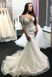 Gorgeous Sheer Neck Half Sleeves Lace Appliques Mermaid Long Wedding Dress N2484