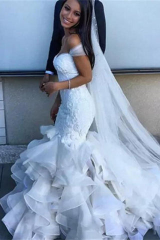 Gorgeous Off the Shoulder Mermaid Wedding Dress with Ruffles, White Bridal Gown