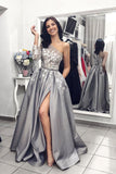 Gray One Shoulder Long Prom Dress, Grey Long Sleeves Side Slit Evening Dress N1291
