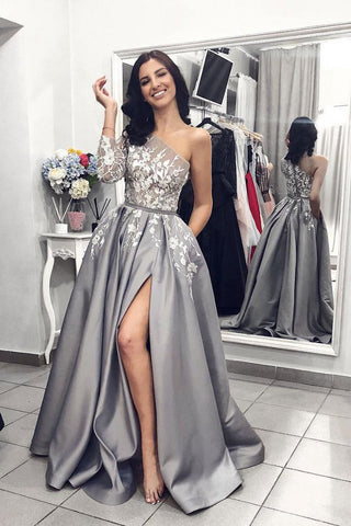 Gray One Shoulder Long Prom Dress Grey Long Sleeves Side Slit