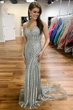 Gray Spaghetti Strap Sparkly Evening Dress, Sexy Long Mermaid Prom Dress