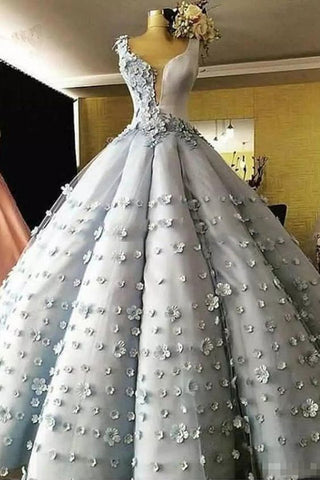77eb255c7a Princess Gray Tulle Flower Ball Gown Prom Dress