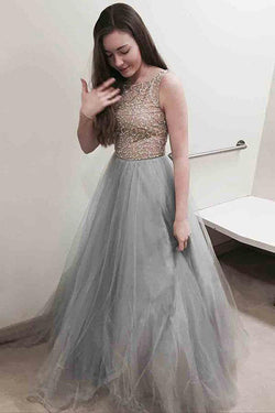 Gray Long Tulle Prom Dress with Beading, A Line Sleeveless Grey Formal Dresses N1582