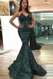 Dark Green Sweetheart Mermaid Sleeveless Floor Length Sequined Prom Dresses N2616