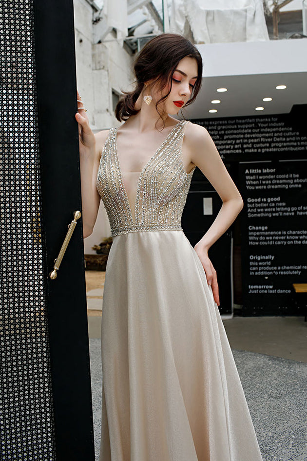 Elegant Deep V Neck Sleeveless Evening Dress with Sequins, Backless A Line Party Dress N2665