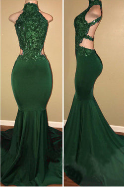Green High Neck Sleeveless Mermaid Long Prom Dress with Appliques, Sexy Party Dress N1585