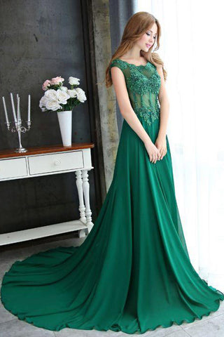 A-line Dark Green Cap Sleeve Scoop Applique Chiffon Long Prom Dress with Beaded,N644
