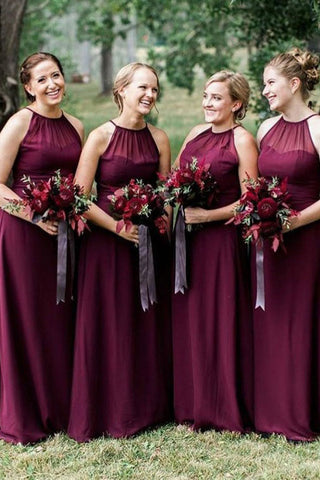 Floor Length Sleeveless Chiffon Bridesmaid Dresses, A Line Red Long Bridesmaid Dresses N2462
