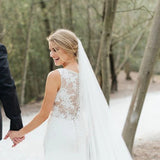 Chic Sleeveless Long Wedding Dress with Lace Appliques, Long Train Beach Wedding Dress N2550