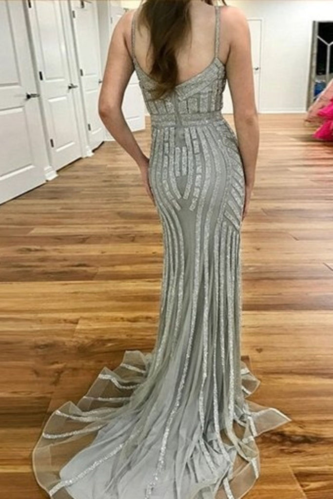 Gray Spaghetti Strap Sparkly Evening Dress, Sexy Long Mermaid Prom Dress N1183
