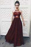 A-line Sexy Halter Sleeveless Dark Red Illusion Bodice Long Prom Dress with Lace,N754