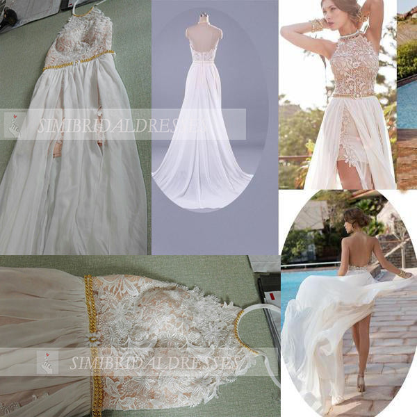A-line Halter High Neck Lace Ivory Beach Wedding Dress,Prom Dresses N14