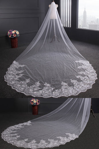 Luxury One Tier Cathedral Wedding Lace Sequins Long Veil,Tulle Bridal Veil+Comb,V006