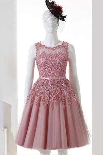 Dusty Pink A-Line Sleeveless Tulle Homecoming Dress,Lace Applique Homecoming Gown