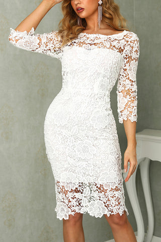 White Knee Length Lace Short Formal Dresses, Half Sheath Lace Homecoming Dress N2136