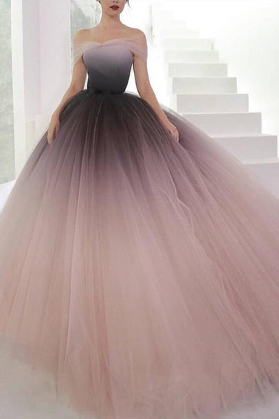 Puffy Off the Shoulder Ombre Prom Dress, Unique Tulle Long Evening Dresses N1596