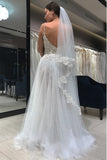 Spaghetti Strap Long Tulle Prom Dress with Lace, Simple Backless Beach Wedding Dresses N1176