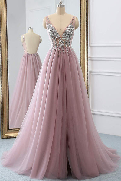 Dusty Pink A Line Tulle Prom Dress, Sparkly V Neck Long Graduation Dress with Rhinestone N1526