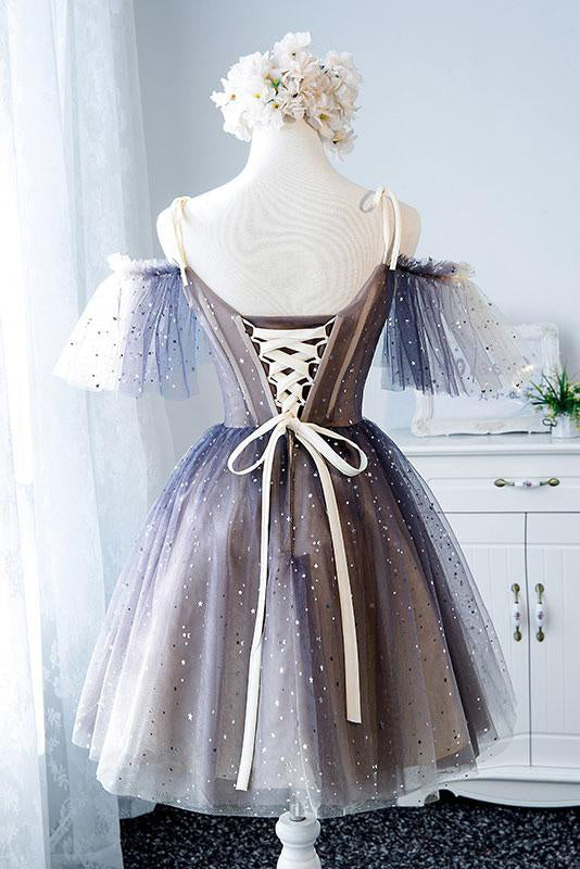 Sparkly Off the Shoulder Homecoming Dress with Short Sleeves, Unique Tulle Short Dress N1880