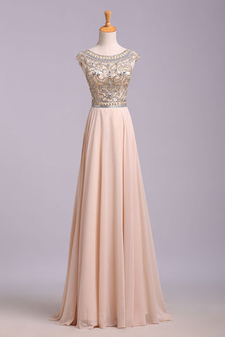 A Line Floor Length Scoop Chiffon Prom Dress, Beading Long Evening Dresses