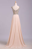 A Line Floor Length Scoop Chiffon Prom Dress, Beading Long Evening Dresses N1201