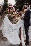 Straps Long Lace Wedding Dresses, Charming Lace Beach Wedding Dresses N2274