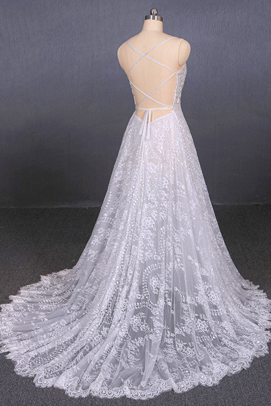 Spaghetti Straps Sweetheart Lace Wedding Dresses, Lace Bridal Dresses with Long Train N2284