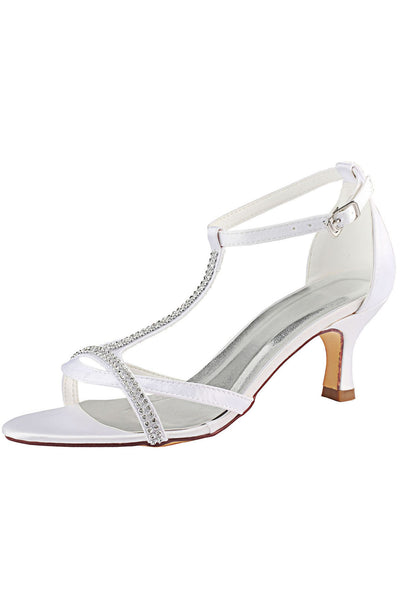 White Wedding Shoes with Rhinestone, Peep Toe Fashion Wedding Party Shoes