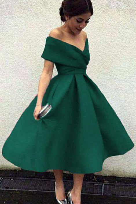 Green Off the Shoulder Tea Length Satin Homecoming Dress, Cute Senior Prom Dress N1669