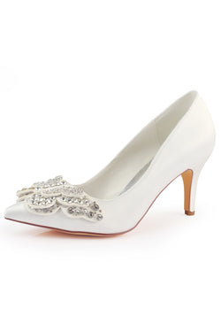 Ivory High Heels Wedding Shoes with Rhinestone, Fashion Satin Wedding Party Shoes