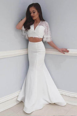 Two Piece Beach Wedding Dress with Lace, 2 Piece Mermaid V Neck Prom Dresses N1785