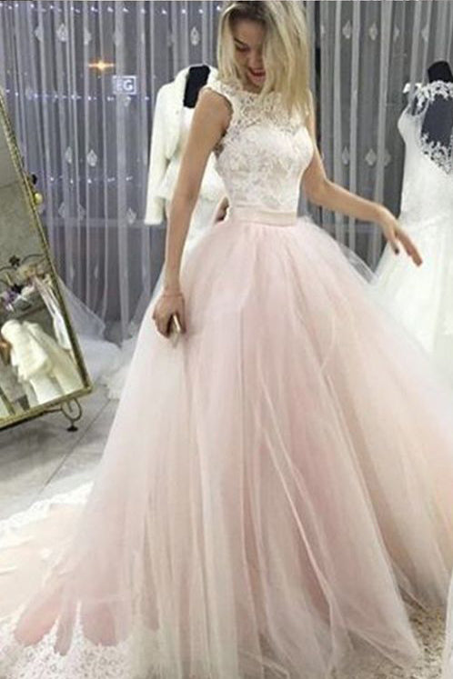 Pale Pink Court Train Wedding Dress with Lace Appliques, Sleeveless Bridal Dress N1129