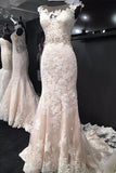 Elegant Sleeveless Mermaid Bridal Dress, Lace Wedding Dress with Train