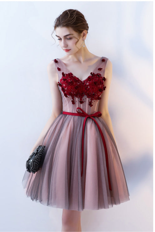 Tulle Short Prom Dress with Flowers