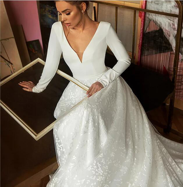A Line Long Sleeves V Neck Beach Wedding Dress, Elegant Long Bridal Dresses N2552