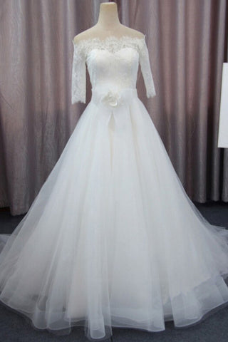 A Line 3/4 Sleeves Tulle Wedding Dress with Flowers, Fluffy Off Shoulder Bridal Dress with Lace