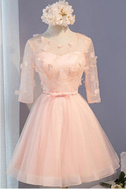 A Line Half Sleeves Knee Length Tulle Prom Dress with Flowers, Short Prom Dresses