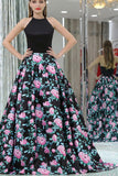 Black A-line Halter Sleeveless Floral Long Prom Dress,Elegant Prom Gown,N643