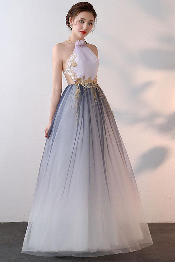 A-line Halter Tulle Prom Dresses With Applique, Ombre Sexy Backless Formal Dresses