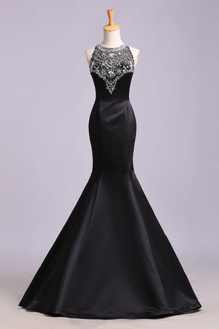 Black Mermaid Sleeveless Beaded Satin Prom Dress, Long Evening Dresses