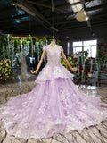 Lilac Ball Gown Short Sleeve Prom Dresses with Flowers, Gorgeous Quinceanera Dress N2626