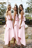 High Low Strapless Bridesmaid Dress, Pink Short Bridesmaid Dress with Bow N1161