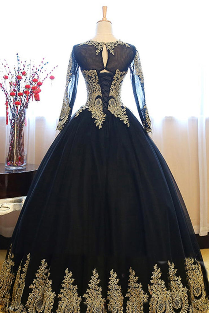 Black Ball Gown Long Sleeves Party Dress, Princess Tulle Prom Dress with Lace Appliques N1192